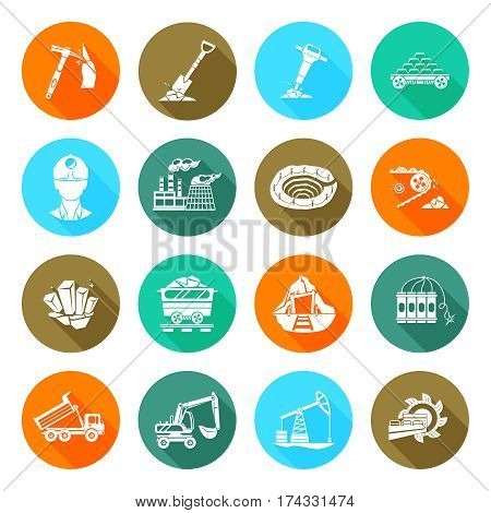 Coal extraction and miner workers safety equipment and accessories flat round icons collection abstract isolated vector illustration