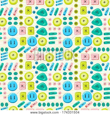 Buttons seamless pattern. Background with buttons sewn to the fabric. Vector illustration on a theme of sewing and crafts