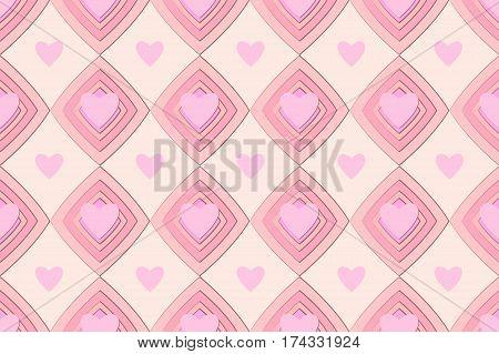 pink seamless hearts pattern ornament background valentine love lozenge