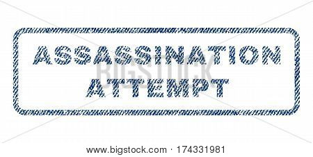 Assassination Attempt text textile seal stamp watermark. Blue jeans fabric vectorized texture. Vector tag inside rounded rectangular shape. Rubber emblem with fiber textile structure.
