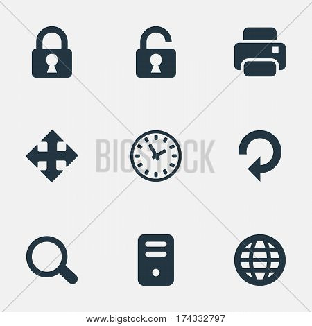 Set Of 9 Simple Apps Icons. Can Be Found Such Elements As Computer Case, Magnifier, Printout And Other.