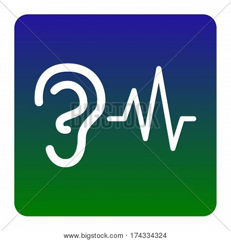 Ear hearing sound sign. Vector. White icon at green-blue gradient square with rounded corners on white background. Isolated.