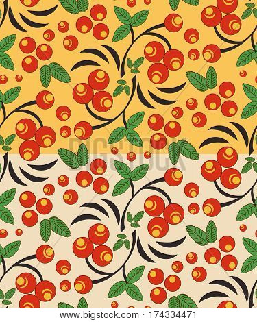 Two seamless berry pattern with bunch of rowan in two versions in Khokhloma colors. Traditional russian Khokhloma ornament. Vector illustration