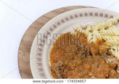 Meat Goulash Stew With Pasta And Copy Space For Advertising