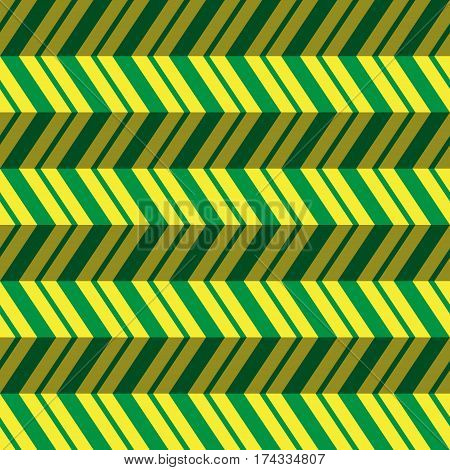 seamless pattern - abstract zig zag illustration with green striped sharp corners in front of a yellow background and shadows
