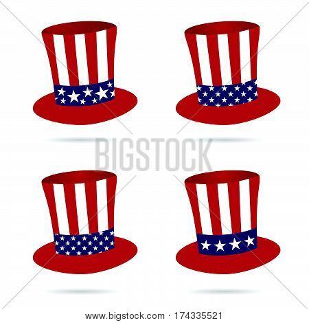 American Flag On Hat In Color Set Illustration