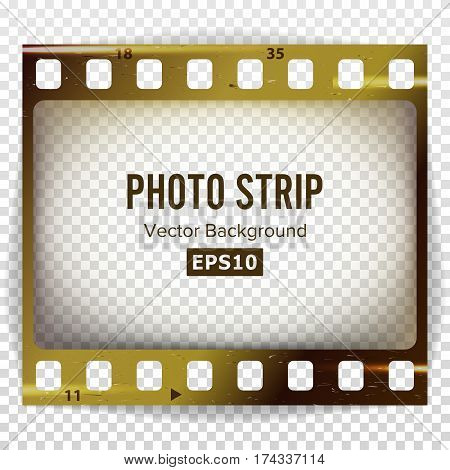 Photo Strip Vector. Realistic Empty Frame Strip Blank. Grunge Template Isolated On White Background.