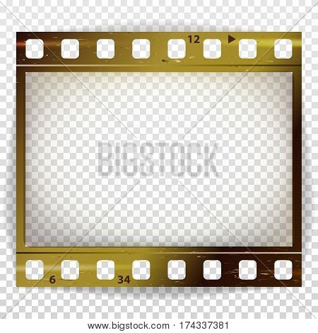Film Strip Vector. Cinema Of Photo Frame Strip Blank Isolated On Transparent Background.