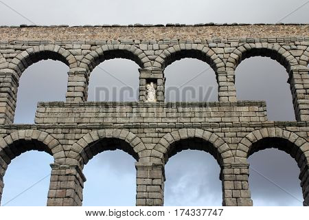 Ancient roman aqueduct in Segovia, Spain. Water transport