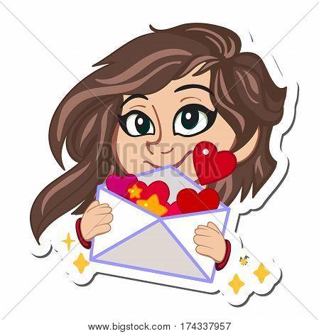 Happy Valentine s Day. love letter. Valentine envelope