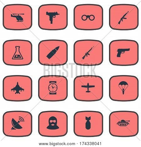 Set Of 16 Simple Battle Icons. Can Be Found Such Elements As Ammunition, Field Glasses, Nuke And Other.