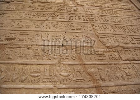 Old Drawings Cuted In Ancient Walls In Egypt