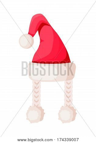 Santa Claus hat with two braids isolated on white. Winter fur woolen cap. Father Christmas hat with three pompoms. Flat icon winter holiday accessory for woman in cartoon style vector illustration