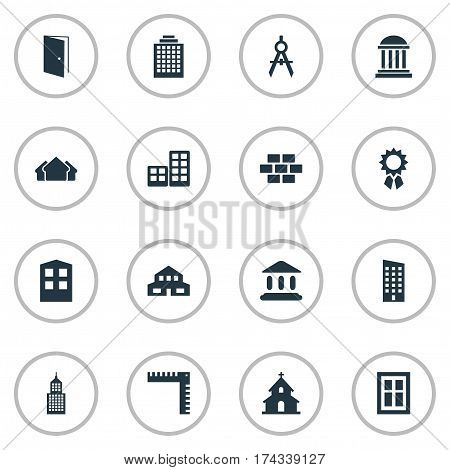 Set Of 16 Simple Structure Icons. Can Be Found Such Elements As Reward, Academy, Gate And Other.