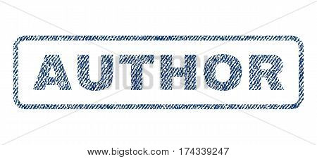 Author text textile seal stamp watermark. Blue jeans fabric vectorized texture. Vector caption inside rounded rectangular shape. Rubber emblem with fiber textile structure.