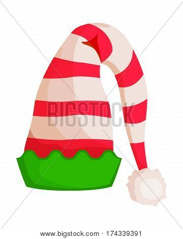 Elf striped hat with green wavy trim isolated on white. Winter fur woolen cap. Santa Claus hat with pompom. Flat icon winter snowboard headwear accessory in cartoon style vector illustration