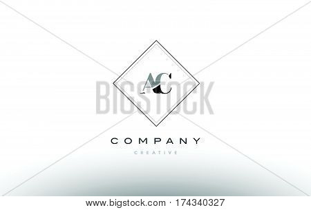 Ac A C  Retro Vintage Black White Alphabet Letter Logo