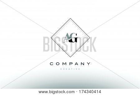 Ag A G  Retro Vintage Black White Alphabet Letter Logo