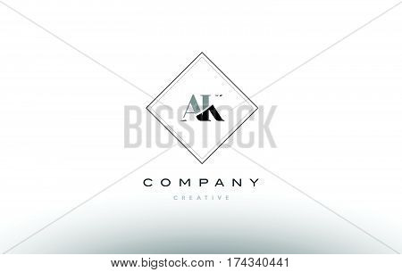 Ak A K  Retro Vintage Black White Alphabet Letter Logo
