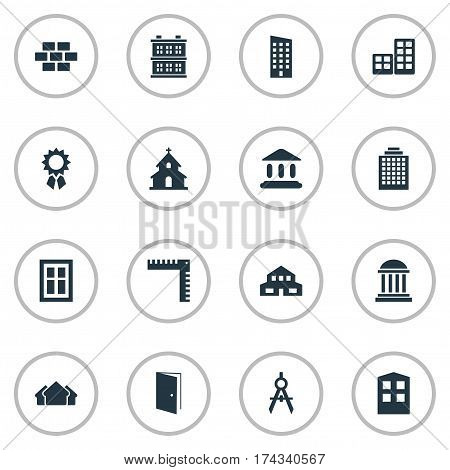 Set Of 16 Simple Structure Icons. Can Be Found Such Elements As Glazing, Floor, Residential And Other.