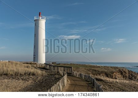 Way to the Grosse Terre lighthouse in Saint Hilaire de Riez, France