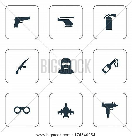 Set Of 9 Simple War Icons. Can Be Found Such Elements As Field Glasses, Helicopter, Molotov And Other.