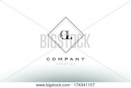 Cl C L  Retro Vintage Black White Alphabet Letter Logo