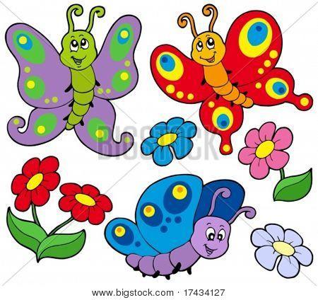 Various cute butterflies - vector illustration.