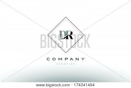 Dr D R  Retro Vintage Black White Alphabet Letter Logo