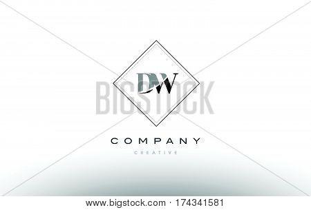 Dw D W  Retro Vintage Black White Alphabet Letter Logo