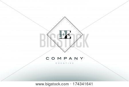 Ee E E  Retro Vintage Black White Alphabet Letter Logo