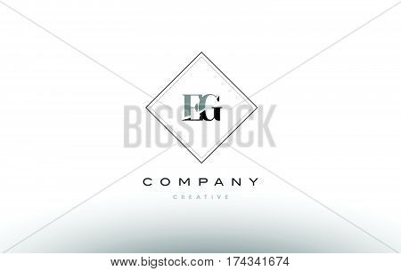 Eg E G  Retro Vintage Black White Alphabet Letter Logo