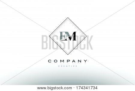 Em E M  Retro Vintage Black White Alphabet Letter Logo