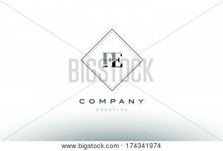 Fe F E  Retro Vintage Black White Alphabet Letter Logo