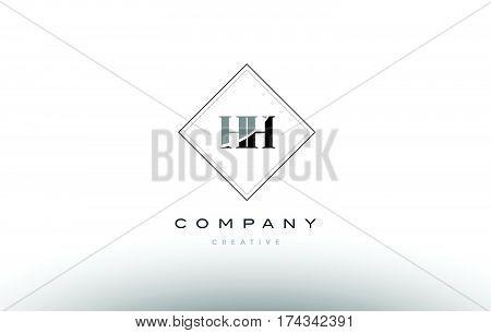 Hh H H  Retro Vintage Black White Alphabet Letter Logo