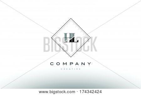 Hl H L  Retro Vintage Black White Alphabet Letter Logo