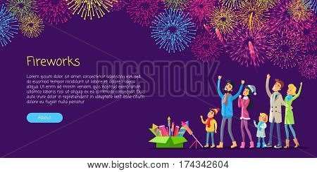 Fireworks. Adults and children watching explosion of colourful salutes in sky and green box with pyrotechnics near them. Vector illustration of people celebrating New Year and space for text