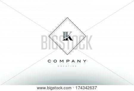 Ik I K  Retro Vintage Black White Alphabet Letter Logo