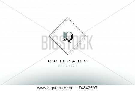 Iq I Q  Retro Vintage Black White Alphabet Letter Logo