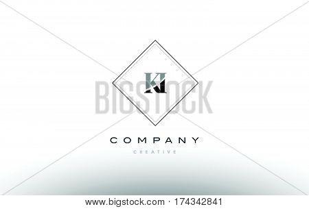 Ki K I  Retro Vintage Black White Alphabet Letter Logo