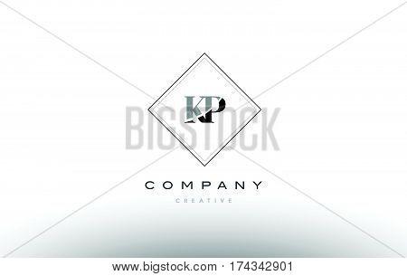Kp K P  Retro Vintage Black White Alphabet Letter Logo
