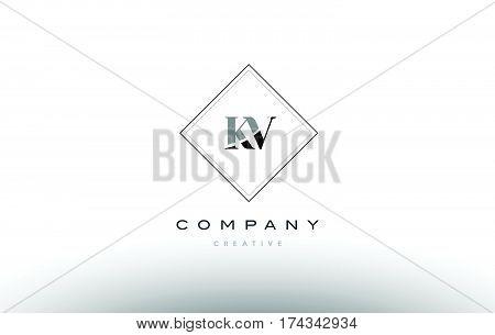 Kv K V  Retro Vintage Black White Alphabet Letter Logo