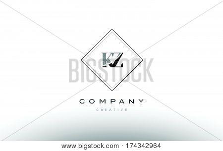 Kz K Z  Retro Vintage Black White Alphabet Letter Logo