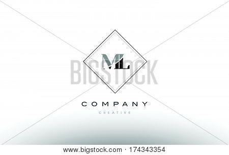 Ml M L  Retro Vintage Black White Alphabet Letter Logo