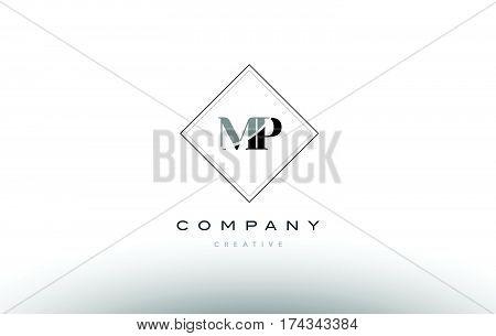 Mp M P  Retro Vintage Black White Alphabet Letter Logo