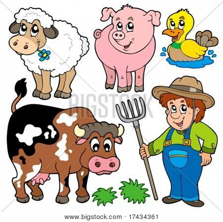Farm cartoons collection - vector illustration.