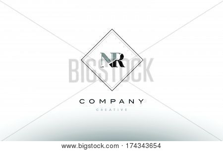 Nr N R  Retro Vintage Black White Alphabet Letter Logo