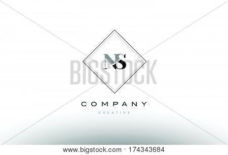 Ns N S  Retro Vintage Black White Alphabet Letter Logo