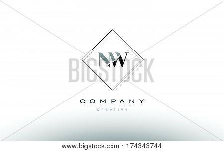 Nw N W  Retro Vintage Black White Alphabet Letter Logo