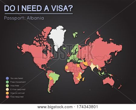 Visas Information For Republic Of Albania Passport Holders. Year 2017. World Map Infographics Showin